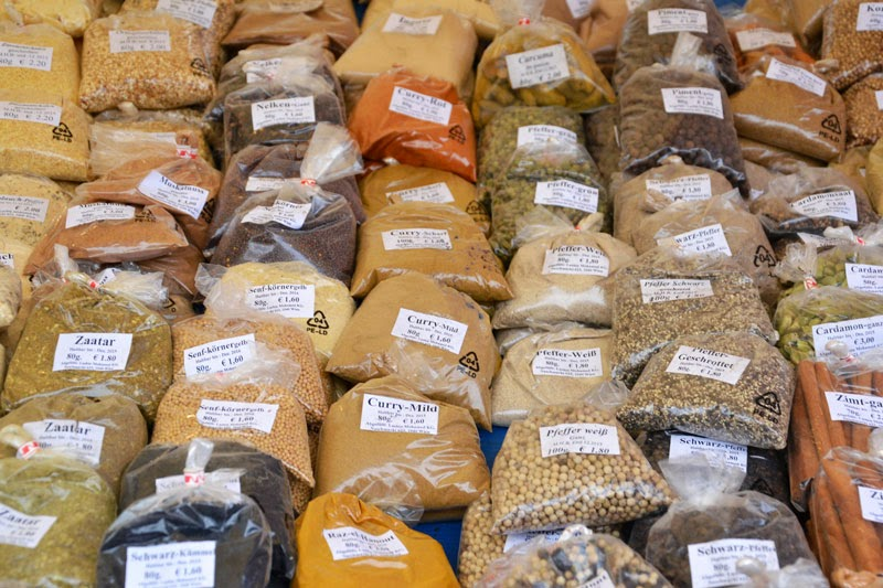 Spices from around the world at Naschmarkt, Vienna