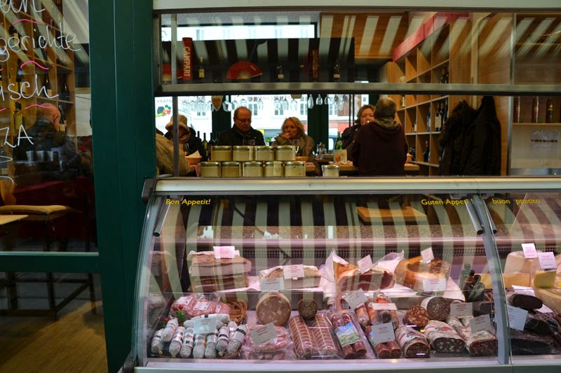 Sausages, meats and cheeses at the Naschmarkt market, Vienna