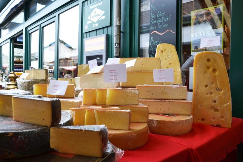 Cheese at the Naschmarkt market in Vienna, Austria