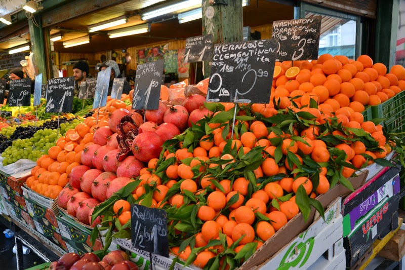 Fresh fruit and vegetables at the Naschmarkt market in Vienna