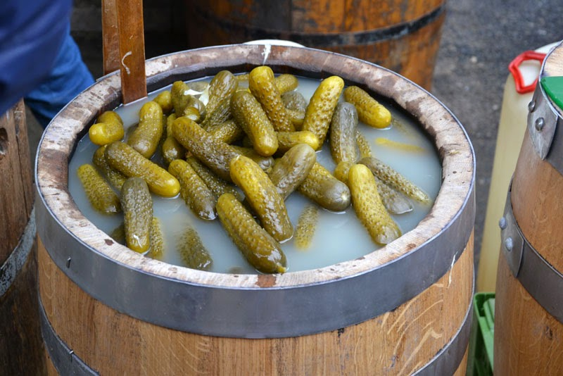 Pickled cucumbers at the Naschmarkt market in Vienna, Austria