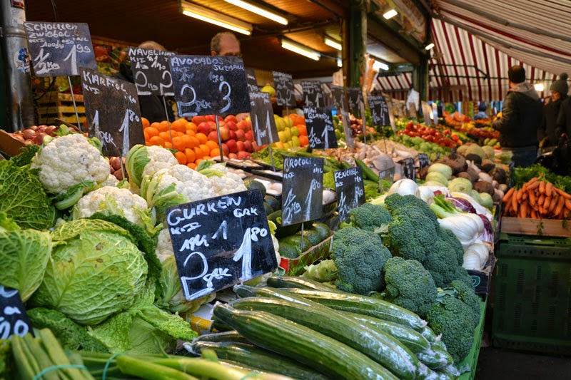 The Naschmarkt in Vienna is a market where you can buy fresh fruit and vegetables