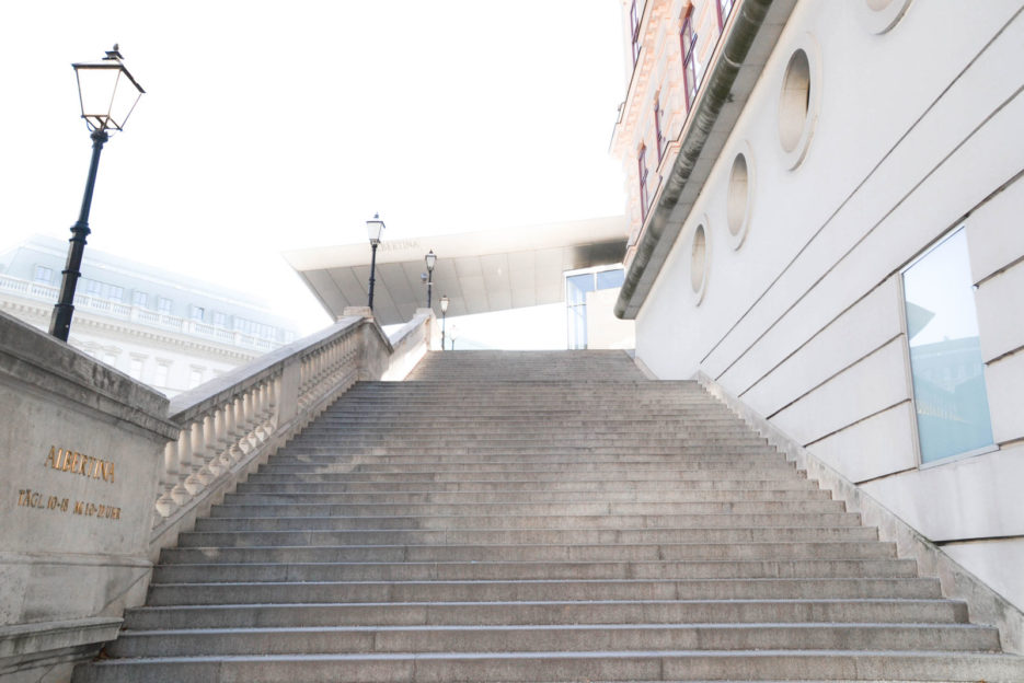 Stairs leading to the Albertina art gallery in Wien, Austria