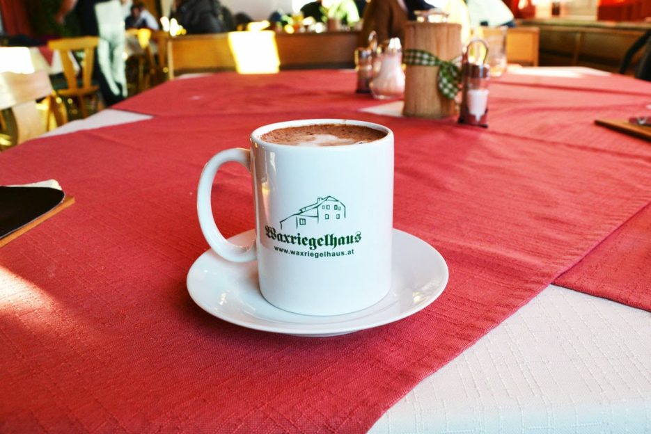 A cup of hot chocolate in Waxriegelhaus, Viennese Alps, is a great thing after a walk in a cold winter day