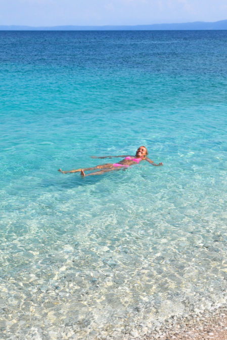 Crystal clear turquoise waters of the Adriatic Sea in Sumartin, Brač Island, Croatia