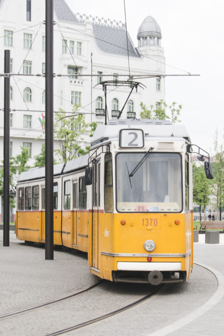 Yellow tram no 2 in Budapest, Hungary - Epepa Travel Blog