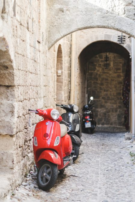 Scooters in the Medieval City of Rhodes, Greece - from travel blog https://epepa.eu/