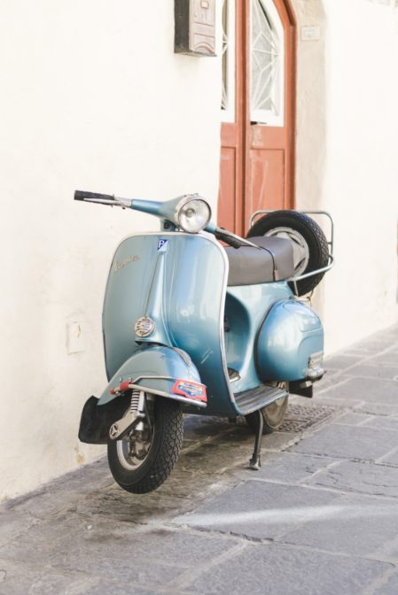 Blue Vespa in the Old Town, Rhodes, Greece - from travel blog https://epepa.eu/