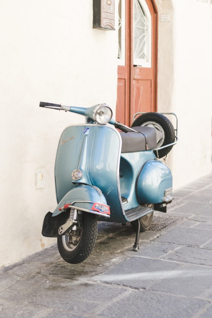 Blue Vespa in the Old Town, Rhodes, Greece - from travel blog http://Epepa.eu