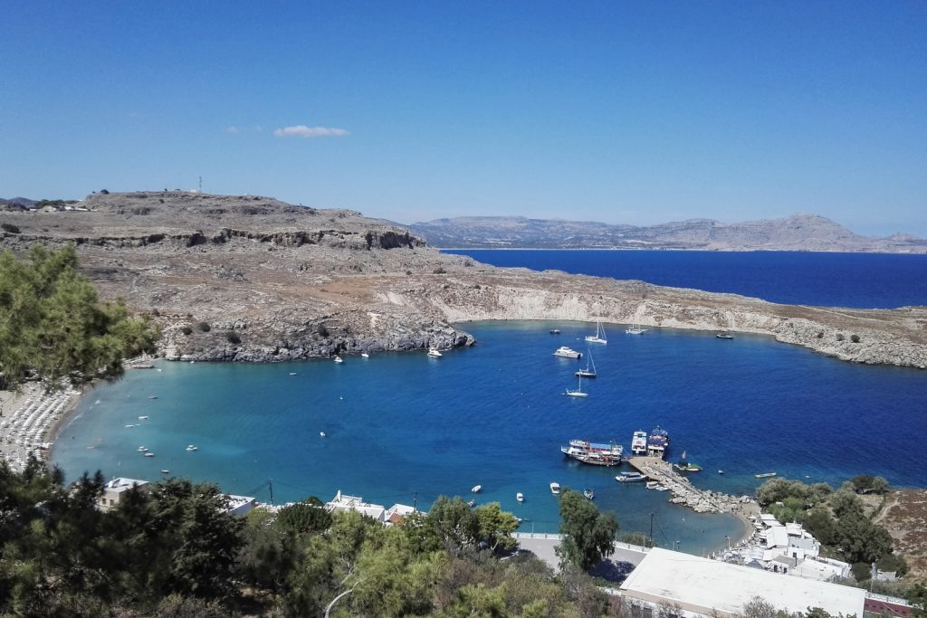Lindos Beach seen from the Acropolis, Rhodes Island, Greece - from travel blog: http://Epepa.eu