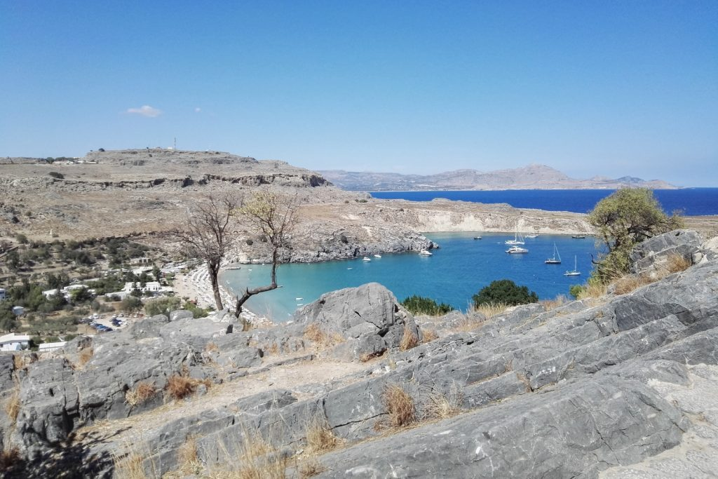 Lindos Beach seen from the Acropolis, Rhodes, Greece - from travel blog: http://Epepa.eu