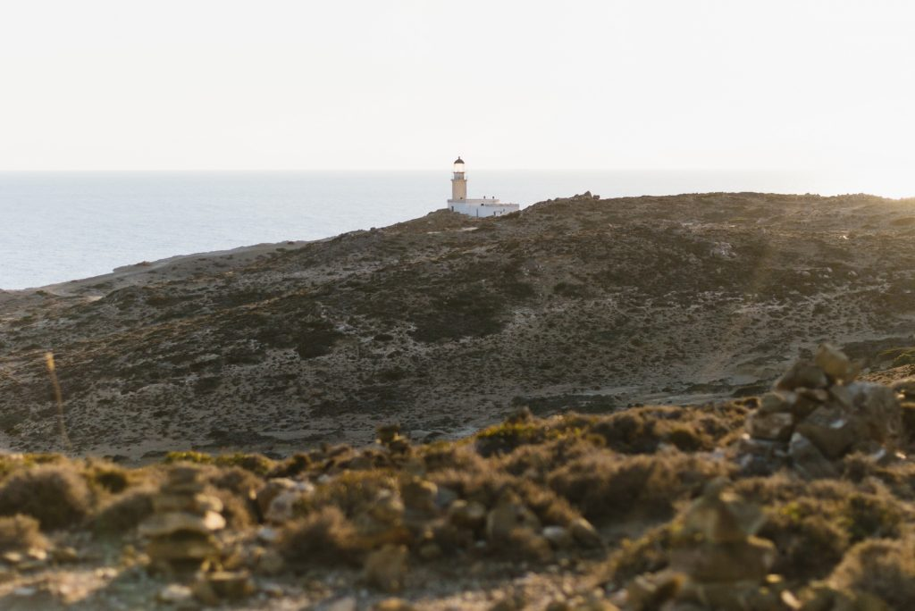 The lighthouse at the end of Prasonisi peninsula, Rhodes, Greece - from travel blog: http://Epepa.eu