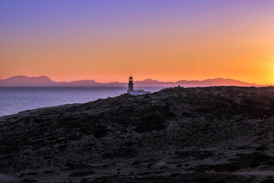 The Prasonisi Lighthouse, the best place to watch the sunset in Rhodes Island, Greece - from travel blog: https://epepa.eu