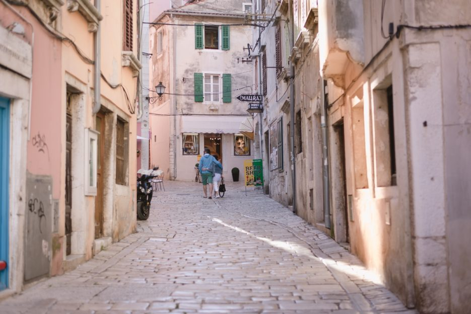 Cobblestone street in Rovinj Old Town, Istria, Croatia - from travel blog https://epepa.eu