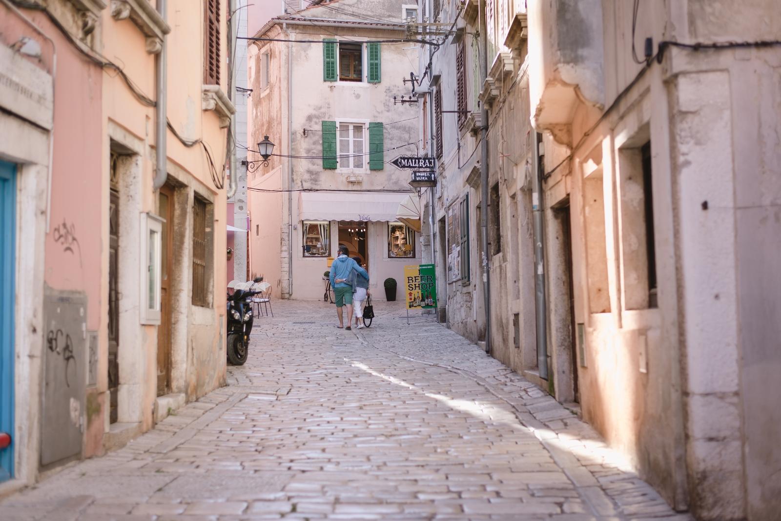 Cobblestone street in Rovinj Old Town, Istria, Croatia - from travel blog http://Epepa.eu