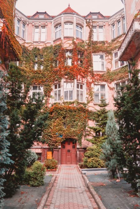 This impressive tenement house is located on Chudoby Street (ul. Chudoby) in Gliwice, Poland