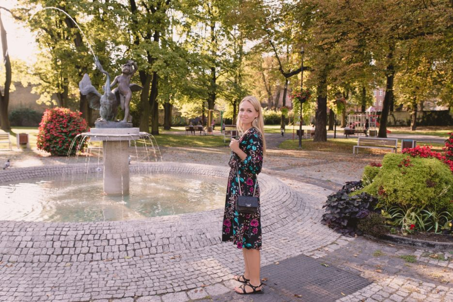 The Boy with Swan (Chłopiec z Łabędziem) fountain in Gliwice, Poland