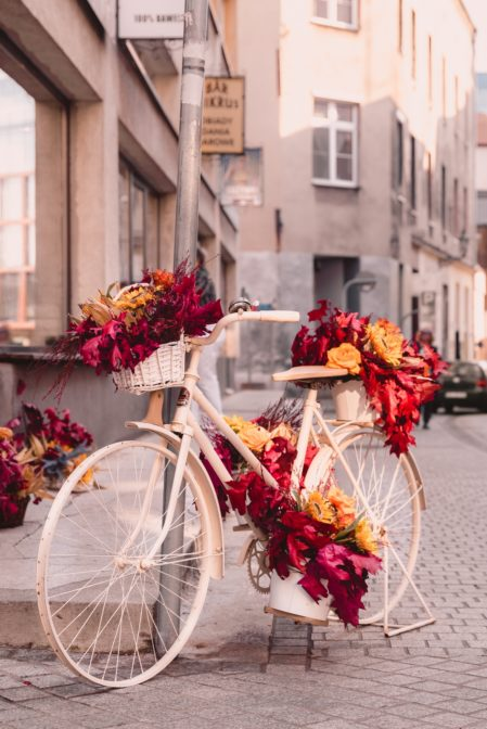 A vintage bicycle, the autumn decoration in the Old Town in Gliwice, Poland