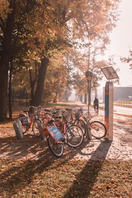 The city bike station in Gliwice, Poland