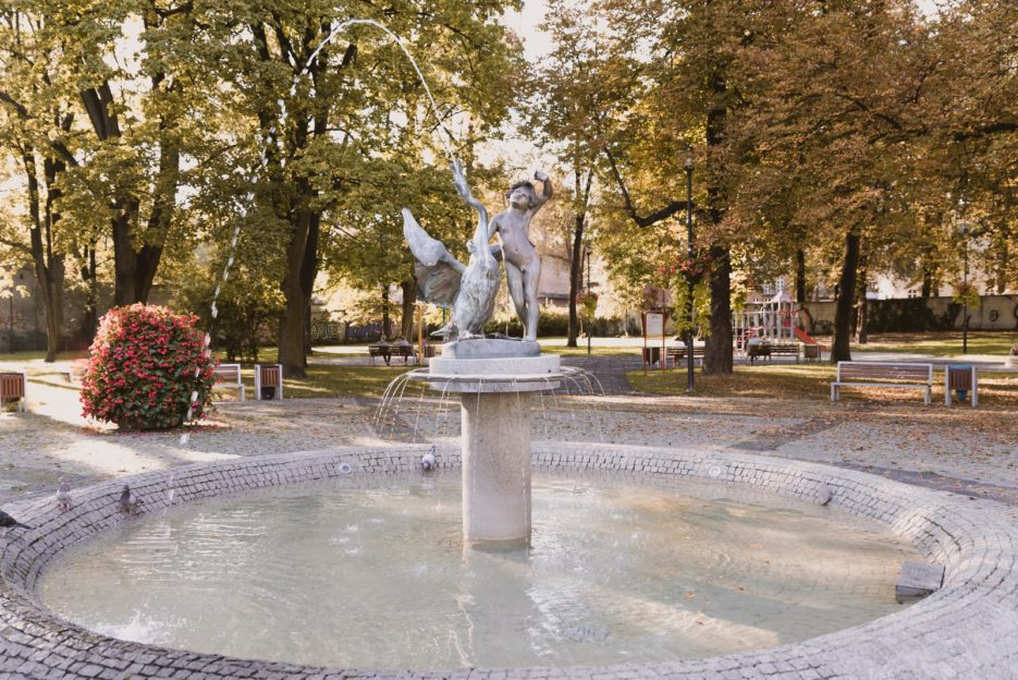 The Boy with Swan (Chłopiec z Łabędziem) fountain, Skwer Dessau, Gliwice, Poland