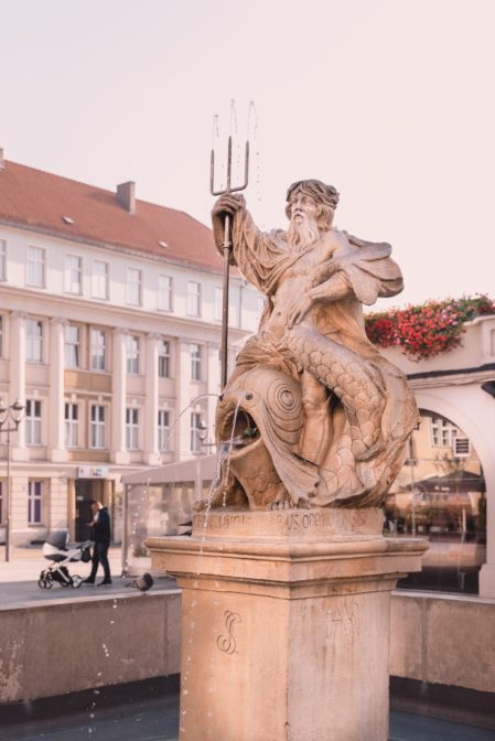 The Neptune Fountain (Fontanna Neptuna) in Gliwice, Poland
