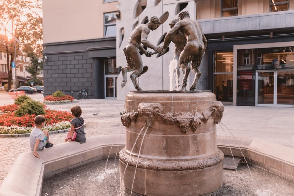 The fountain with three fauns in front of the Municipal Hall Building (Diabełki Gliwice) is one of the symbols of the city of Gliwice, Poland