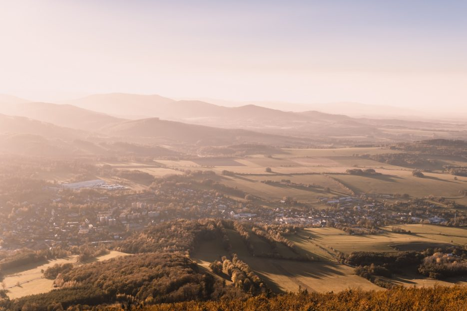 A view of the Czech town of Zlate Hory from the observation tower on Biskupia Kopa, Opawskie Mountains (Góry Opawskie)