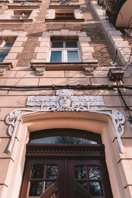 A lovely detail on the facade of the tenement house, Wiktora Gorzołki Street, Gliwice, Poland