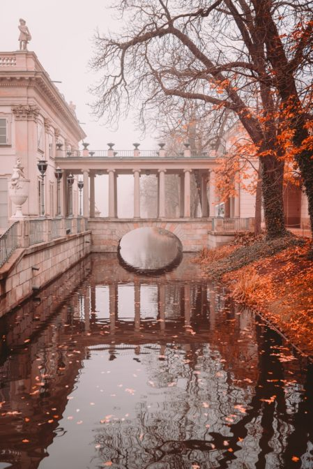 The Palace on the Water (Pałac na Wodzie) in autumn, Łazienki Park, Warsaw, Poland