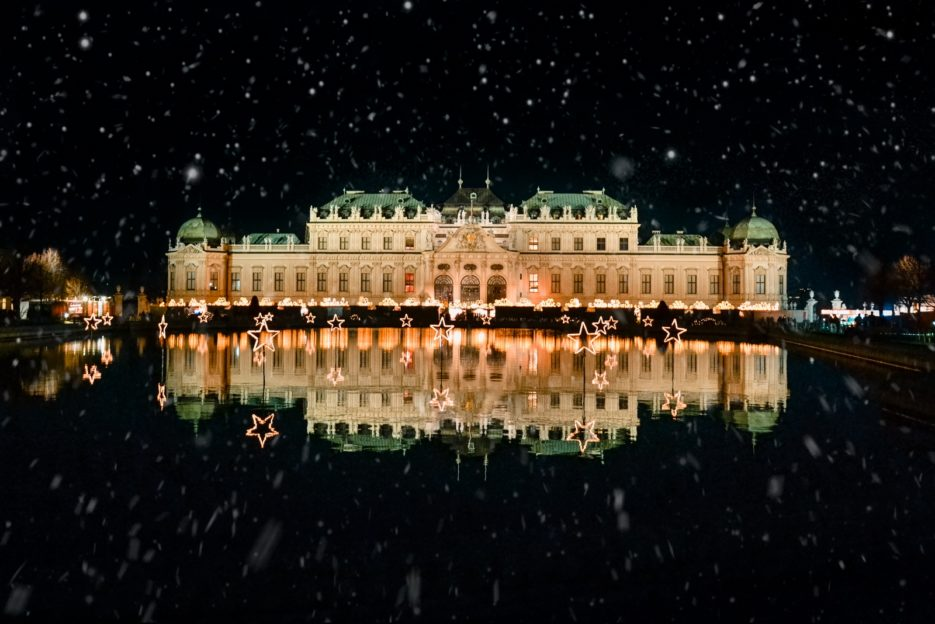 The Upper Belvedere Palace in Vienna, Austria at Christmas time (Oberes Belvedere Wien)