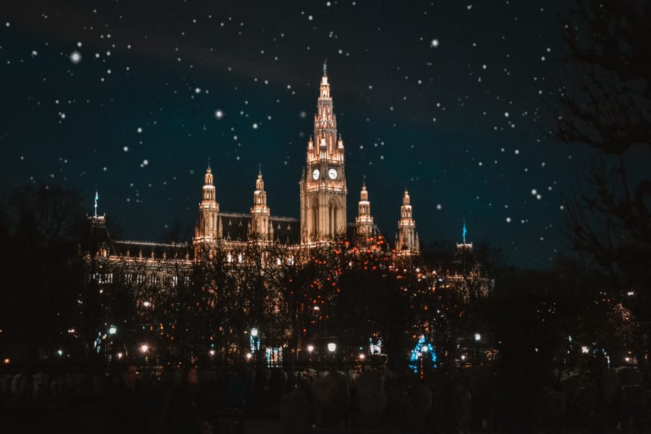 The Vienna City Hall (Wener Rathaus) at Christmas time