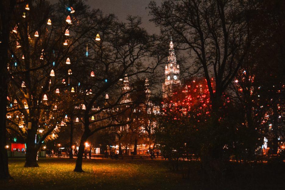 The Christmas market in front of the Vienna City Hall (Wiener Christkindlmarkt am Rathausplatz), Austria