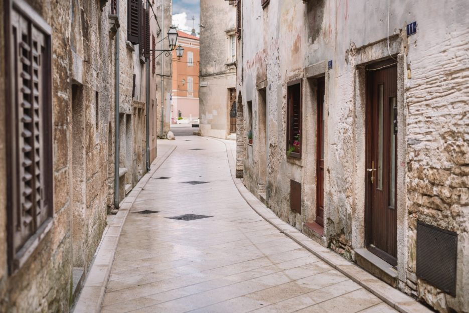 A narrow stone street in the old city of Vodnjan, Istria, Croatia