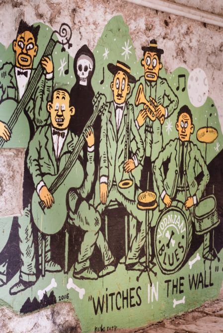 The green big mural that depicts the music band 'Witches in the wall', Vodnjan, Istria
