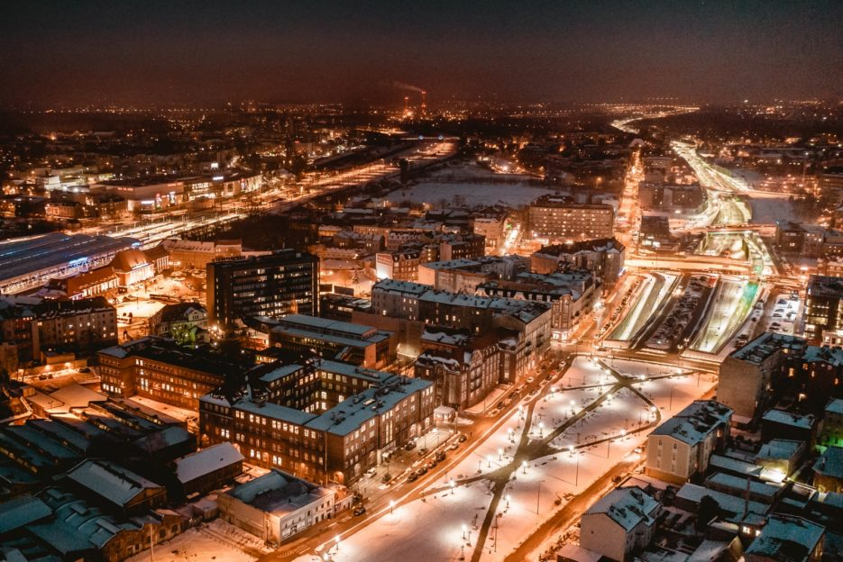 Night photo of Gliwice, Poland captured by a drone.