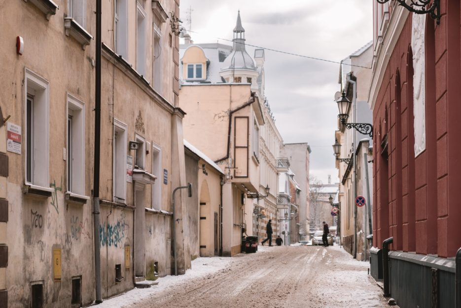 Średnia Street (Ulica Średnia) in the old town of Gliwice, Poland