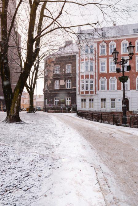 Plac Rzeźniczy in Gliwice, Poland in winter time