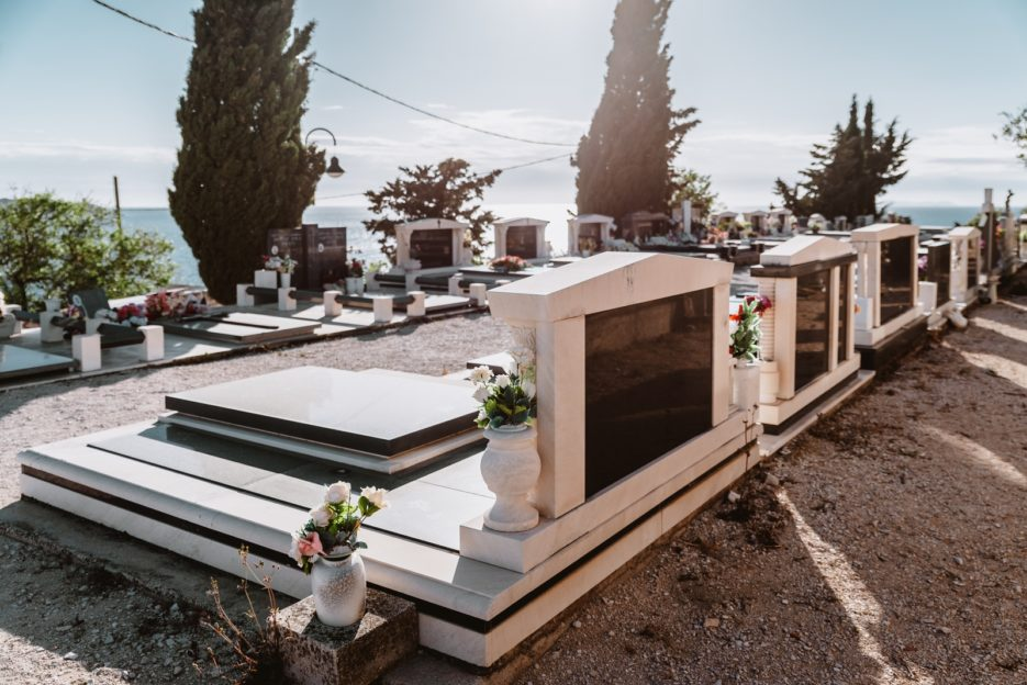 The hilltop cemetery, one of the best places to watch the sunset in Primošten, Croatia.