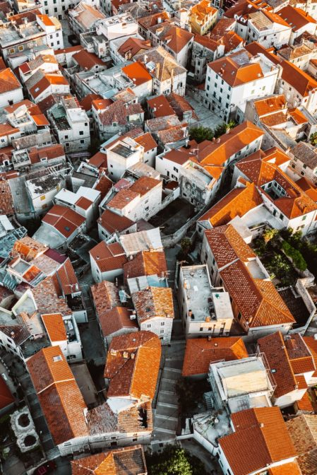 The maze of winding streets in the old town of Šibenik, Croatia