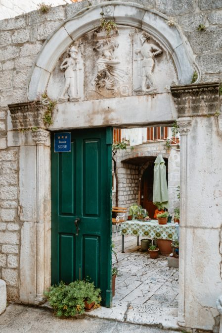 The beautiful door in the old town of Trogir, Croatia