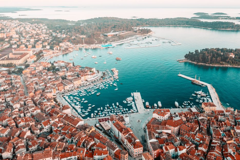Aerial view of the port in Rovinj, Croatia