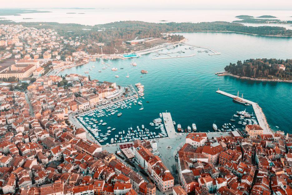 Aerial view of the port in Rovinj, Croatia