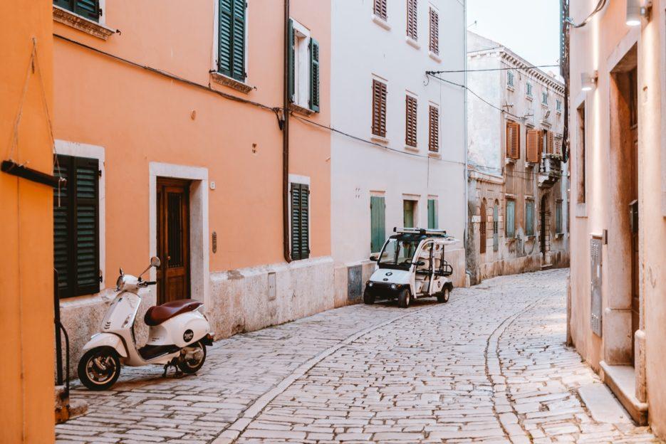 Vladimira Švalbe Street in the old town of Rovinj, Croatia