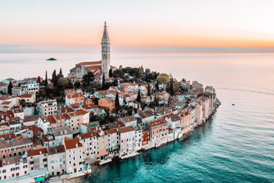 The aerial photo of Rovinj, Croatia at sunset