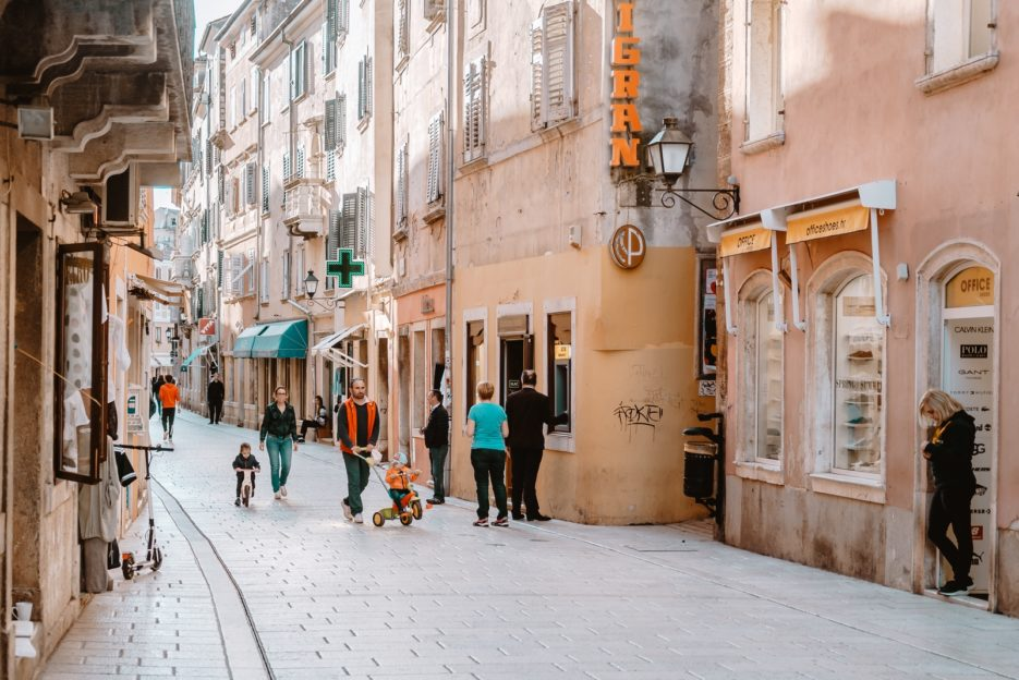 Shopping street in Rovinj, Croatia