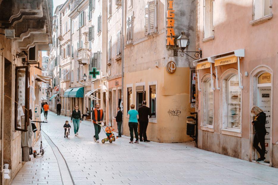 Shopping street in Rovinj, Croatia