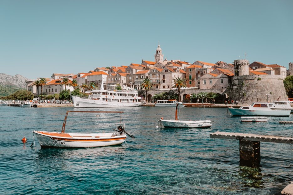 The panorama of Korčula Old Town, Croatia