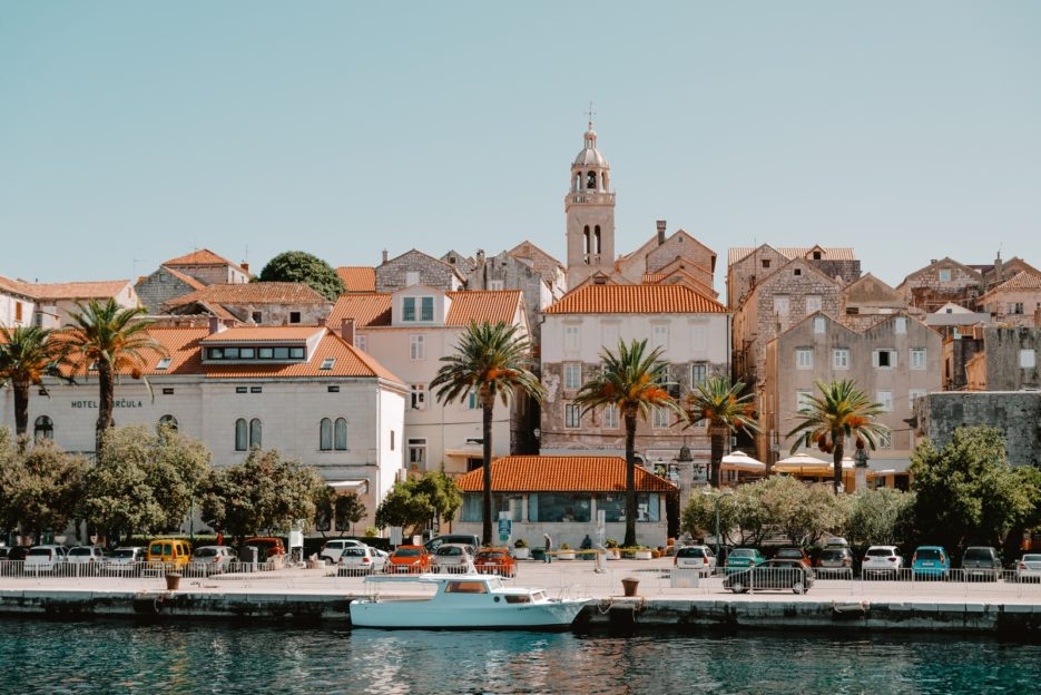 The waterfront of Korčula Old Town seen from the Tamaris foot passenger ferry