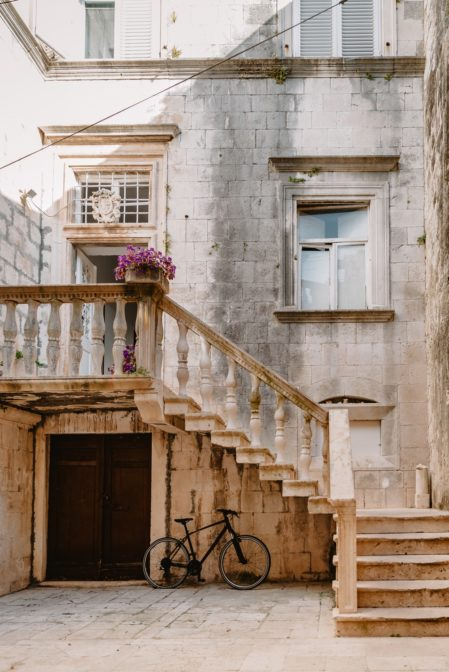 A lovely courtyard in the Old Town of Korčula, Croatia