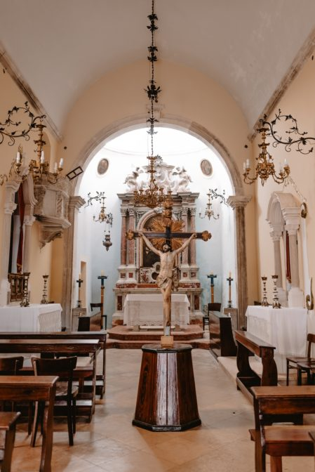 The interior and altar of St. Michael's Church (Crkva Svetog Mihovila), Korčula Old Town, Croatia